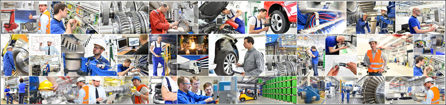 Personal in der Industrie und Handwerk - Collage mit Arbeitskräften // personnel in industry and crafts